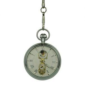 Silver Mechanical Open Dial Pocket Watch
