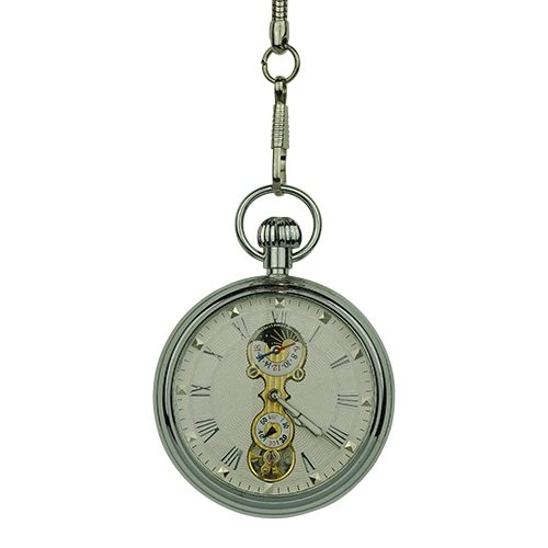 Silver Mechanical Open Dial Pocket Watch