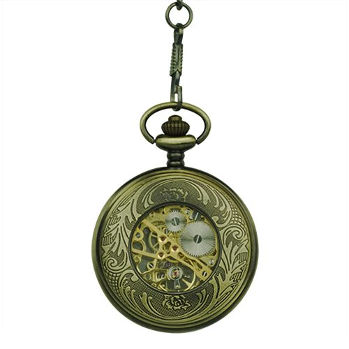 Half Hunter Skeleton Pocket Watch