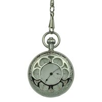 Silver Flower Hunter Pocket Watch