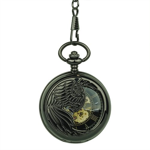 Polished Black Phoenix Hunter Pocket Watch