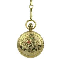 Gold Engraved Fleurs Pocket Watch