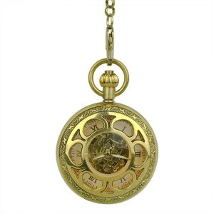 Gold Flower Hunter Pocket Watch