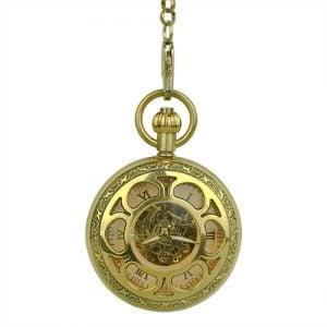 Gold Flower Hunter Pocket Watch