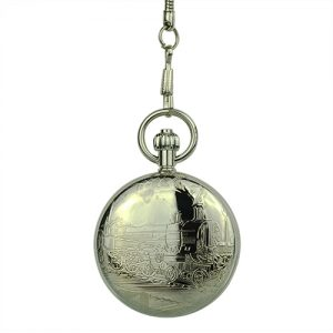 Polished Silver Locomotive Hunter Pocket Watch