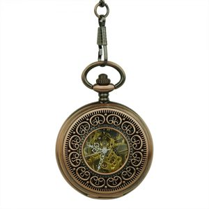 Brass Greek Symbol Half Hunter Pocket Watch