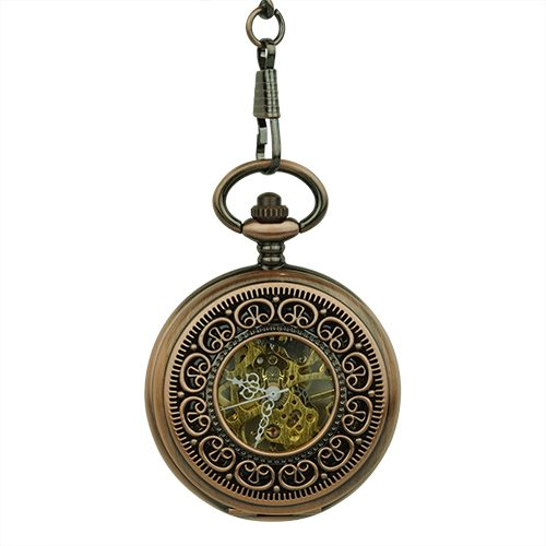 Brass Greek Symbol Half Hunter Pocket Watch