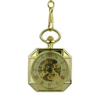 Gold Squircle Open Face Pocket Watch