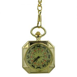 Gold Chinese Zodiac Hunter Fob Watch