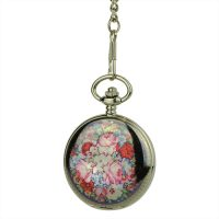Glossy Black Rose Garden Hunter Pocket Watch