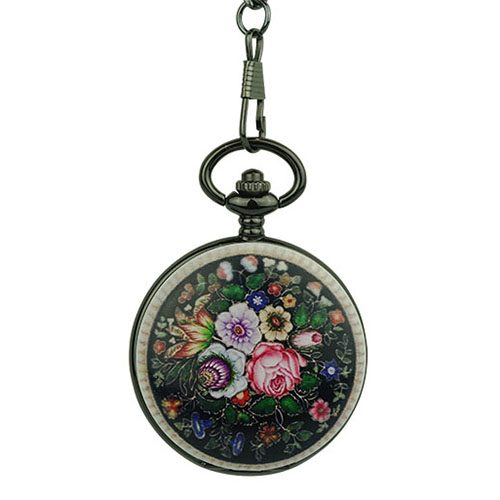 Ceramic Rose Garden Hunter Pocket Watch