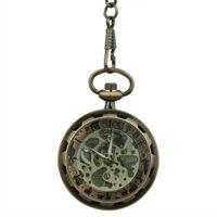 Brass Gear Open Face Pocket Watch