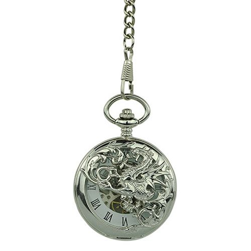 Silver Dragon Hunter Pocket Watch