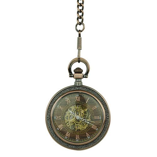 Brass Flower Open Face Fob Watch