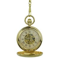 Gold Rope and Rose Hunter Pocket Watch
