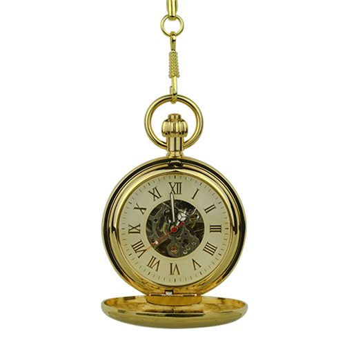 Polished Gold Double Hunter Pocket Watch