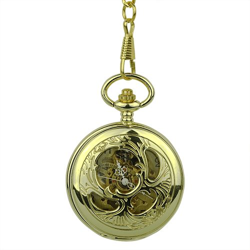 Gold Victorian Flourish Half Hunter Pocket Watch